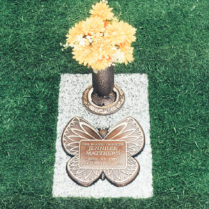Innocent Butterfly Bronze Grave Marker